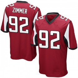 Game Justin Zimmer Youth Atlanta Falcons Red Team Color Jersey - Nike